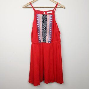 THML | NWT Red Blue Sun Dress Embroidered NWT